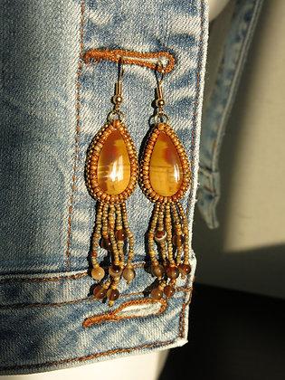 BO brodées, jaspe/agate, crochets en métal plaqué d'or