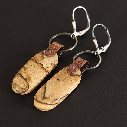 Boho rustic Earrings with jaspe, silver, copper ethnic, 925 silver, unique piece