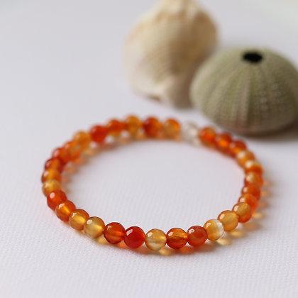 Carnelian bracelet, facetted beads, 6 mm