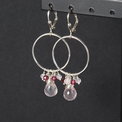 Pink quartz, garnet, topaz Dangle Cluster Drop Earrings, 925 silver