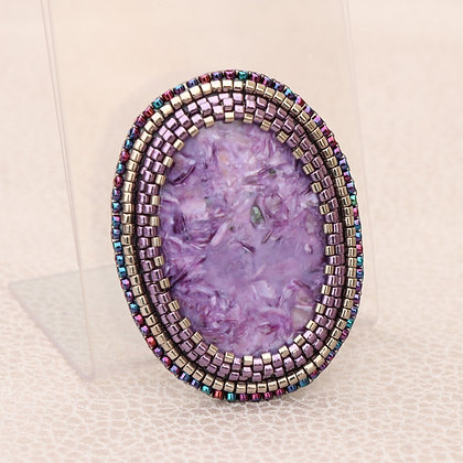 Embroidered brooch, charoite