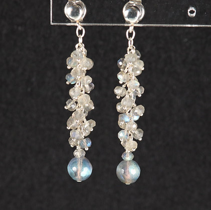 Labradorite Cluster Earrings, 925 silver, unique piece