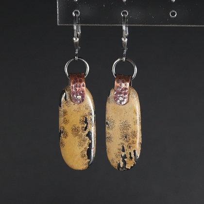 Boucles d'oreilles Boho rustiques avec jaspe, argent, cuivre ethnique, argent 925, pièce unique