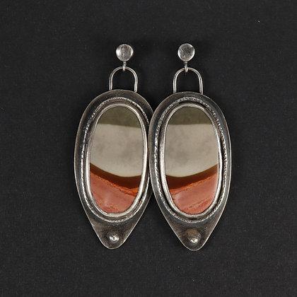 Polychrome jasper, 925 silver, unique statement earrings, red grey colour