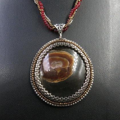 Collier avec ammonite avec ammolite