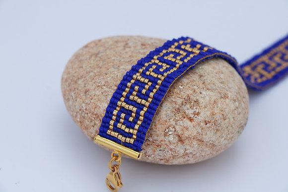 Bracelet tissé en perles Miyuki, bleu / doré, 1,5 cm