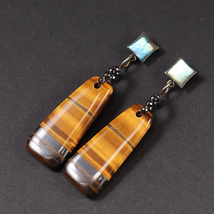Tiger Eye and hematite silver Earrings, 925 silver, unique piece