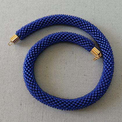 Collier tubulaire crocheté, bleu, , D_1.1cm