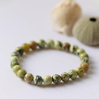 Bracelet en serpentine verte de Russie, 8 mm