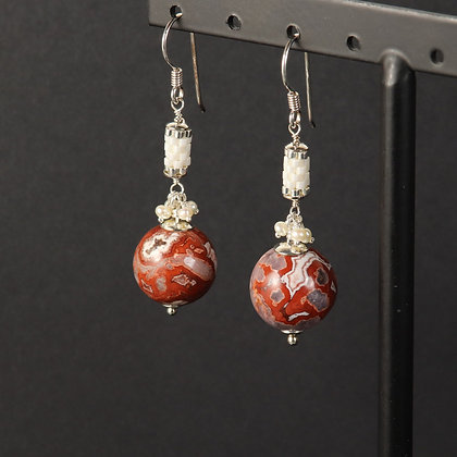Crazy lace agate, 925 silver, unique statement earrings, red white