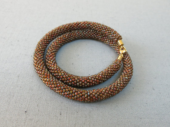 """Collier tubulaire crocheté """"Transparent Topaz Picasso"""", D1.1cm"""