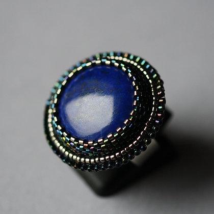 Bague brodée avec lapis lazuli / Bague brodée avec lapis lazuli