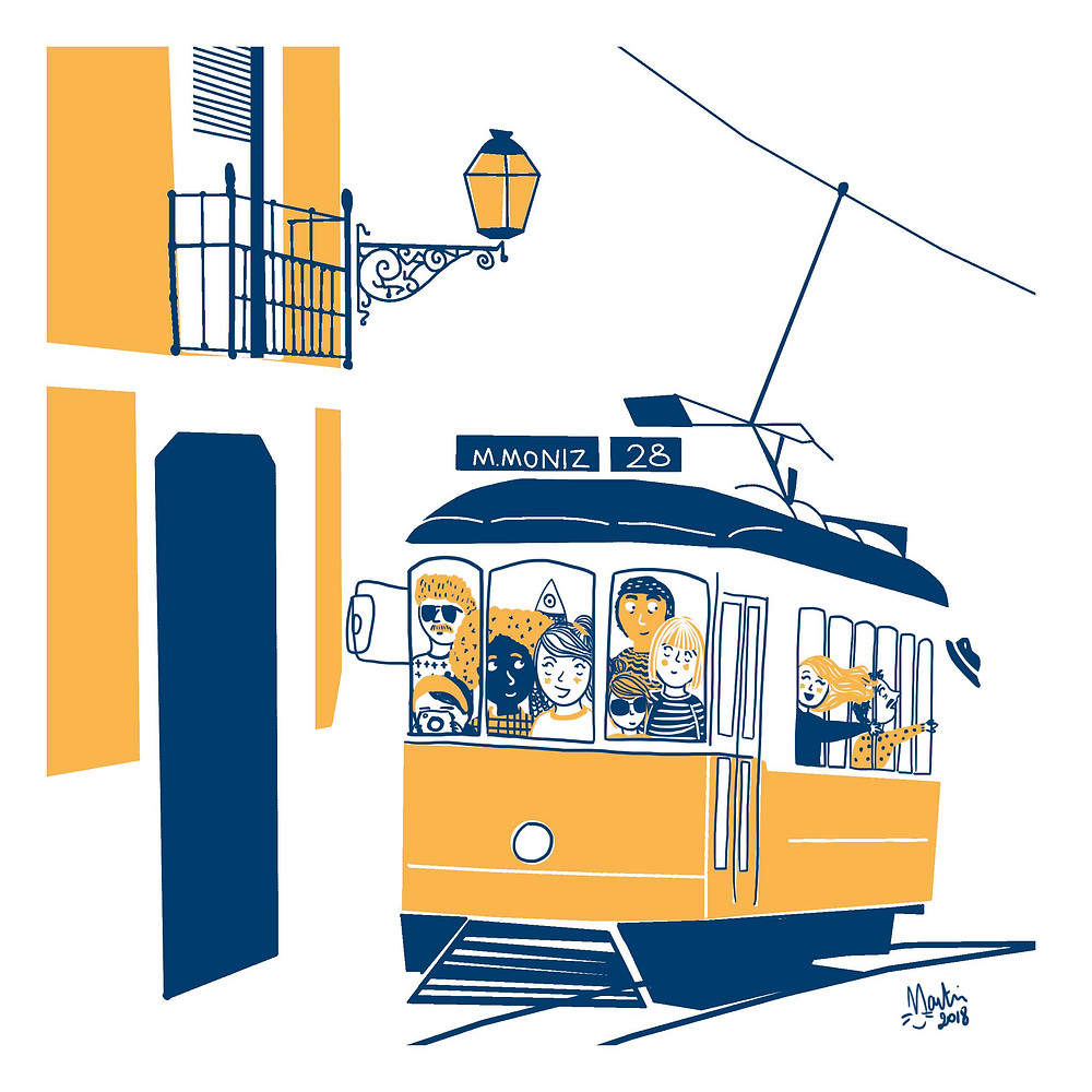Lisbon Tram Design Map Illustrator London