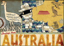 Australia Postcard illustration