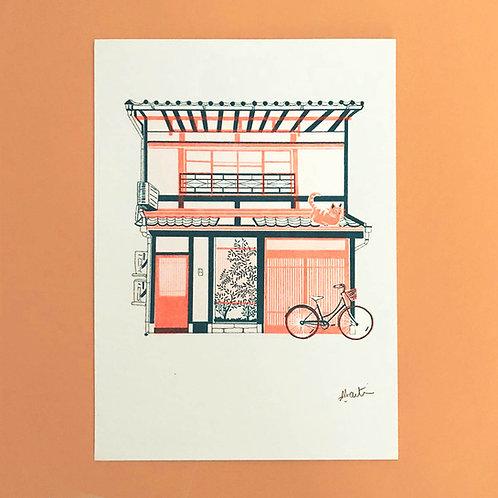 Traditional Japanese House Risoprint
