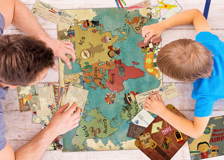 Travel activity pack with maps and colouring postcards