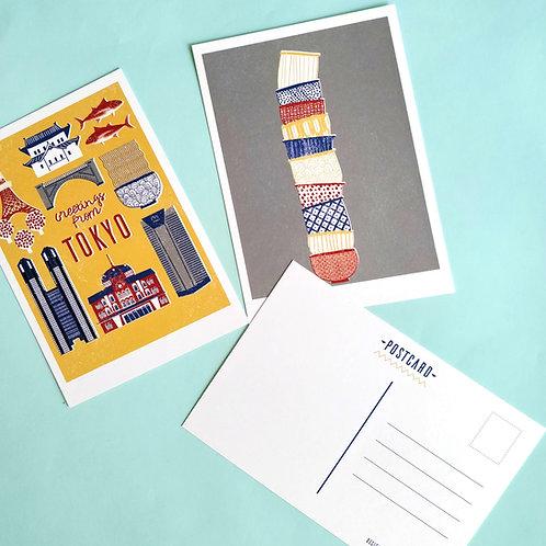 Set of 3 Tokyo Postcards