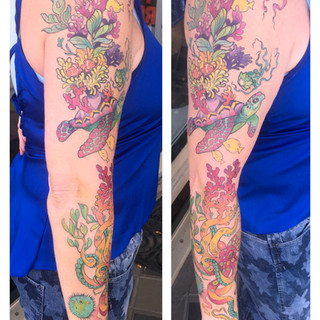 holly underwater colorful sleeve tattoo