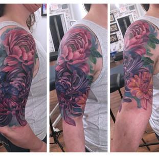 watercolour floral sleeve Mandi tattoo.j