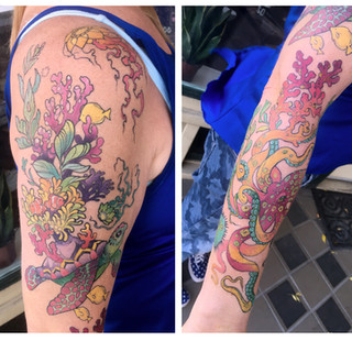 holly underwater colourful sleeve tattoo