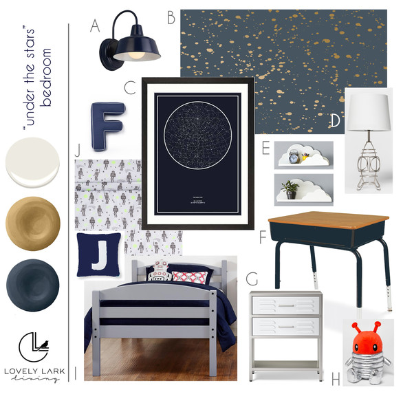 """Under the Stars"" Bedroom Style Board"