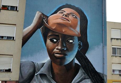 mural art lisbon, take your mask off, nomen, graffiti loures, graffiti lisboa, nomen, famous portuguese graffiti artists, painted buildings, african art,