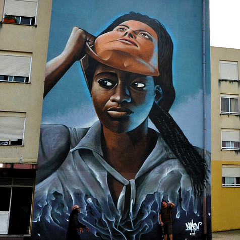 """""""Take your mask off"""" - classic artwork made by Nomen in Lisbon 2014"""
