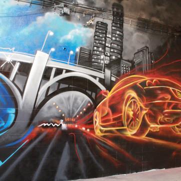 Decor Graffiti in a auto garage by Nomen