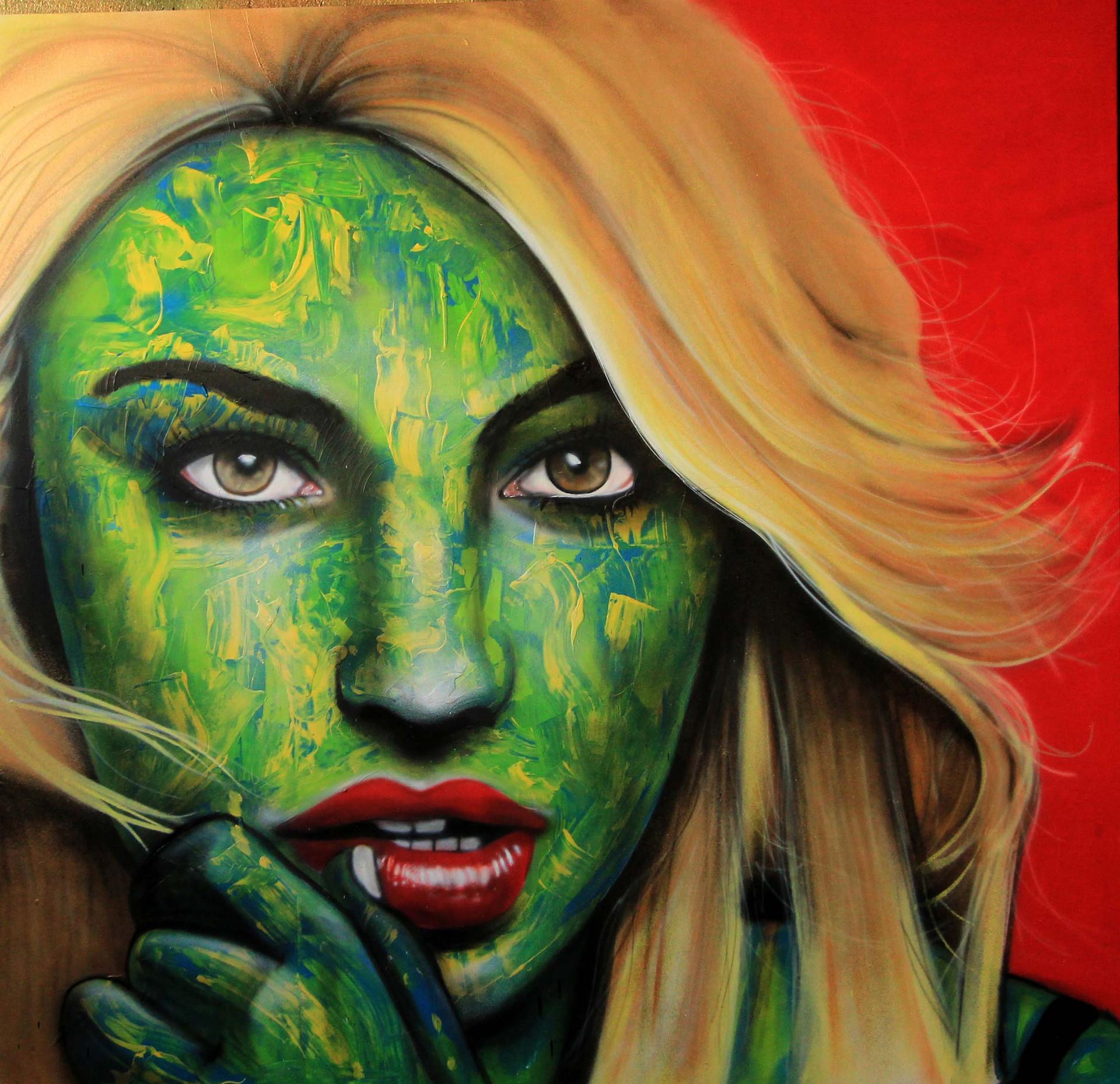 "Graffiti canvas ""Golden Vibe"""
