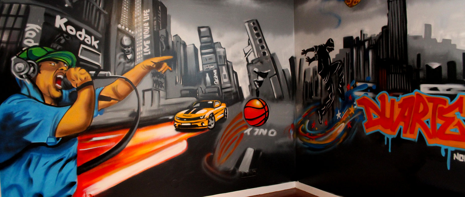 Graffiti painted in a bedroom by Nomen, Lisbon