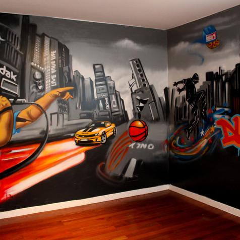 Graffiti in a chidren´s room - Cascais - Artwork by Nomen