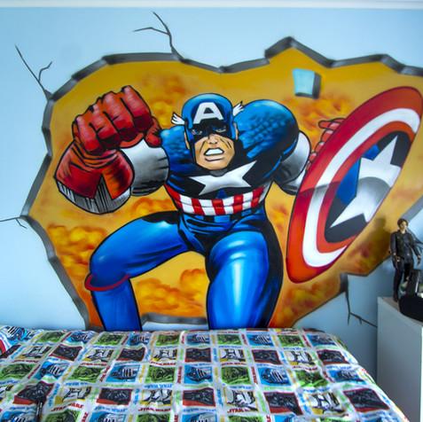 Graffiti em Quarto criança, Capitão América