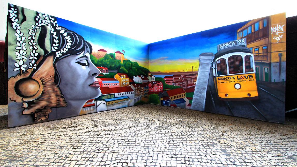 """Live Painting Graffiti at """"Margres Ceramic Tiles""""by Nomen, Lisbon """"Archi Summit"""" event, Parque das Nações, Lisbon, Portugal"""