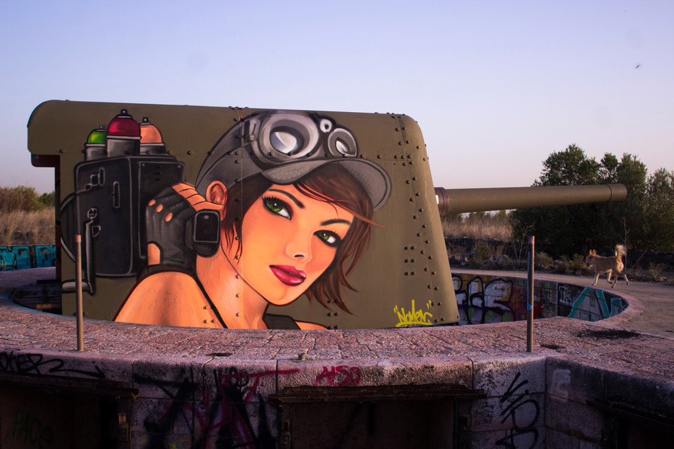 Painted over a tank
