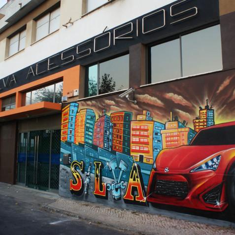 "Graffiti Commission made by Nomen for auto parts store ""Auto Silva"" Bobadela, Lisbon"