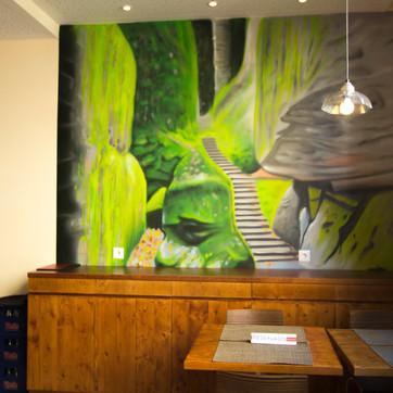 Graffiti decor of restaurant Paladar Zen - graffiti work by Nomen
