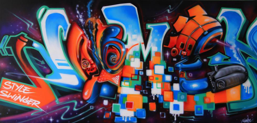 futuristic graffiti Letters