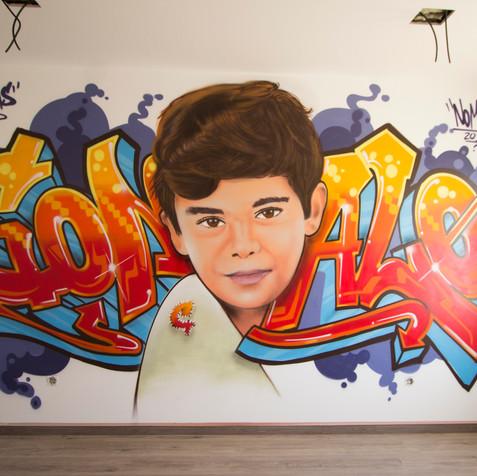 Graffiti in a chidren´s room -Odivelas - Artwork by Nomen