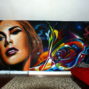 Graffiti in a Living Room - Loures - Artwork by Nomen, 2014