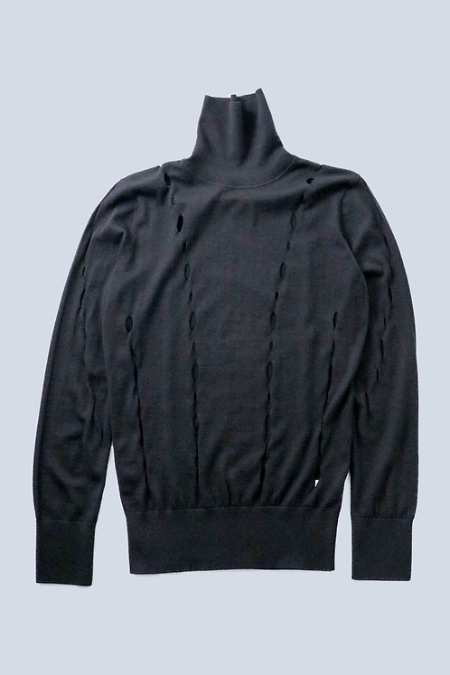 Feng Chen Wang - LACE HOLE TURTLE NECK SWEATER/BLACK