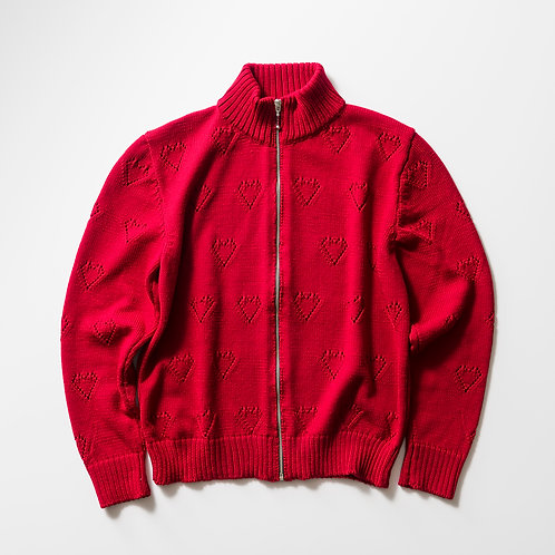 ERNEST W. BAKER - KNIT TRACK TOP /RED HEARTS