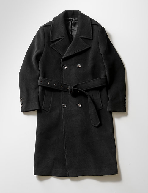 ERNEST W. BAKER - DOUBLE BREASTED  COAT / BLACK HERRINGBONE