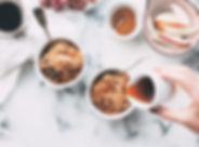 Las frutas y harina de avena Desayuno
