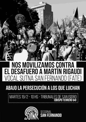 No al desafuero de Martín Rigaudi