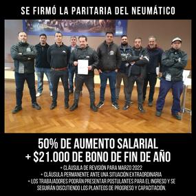 SE FIRMÓ LA PARITARIA DEL NEUMÁTICO