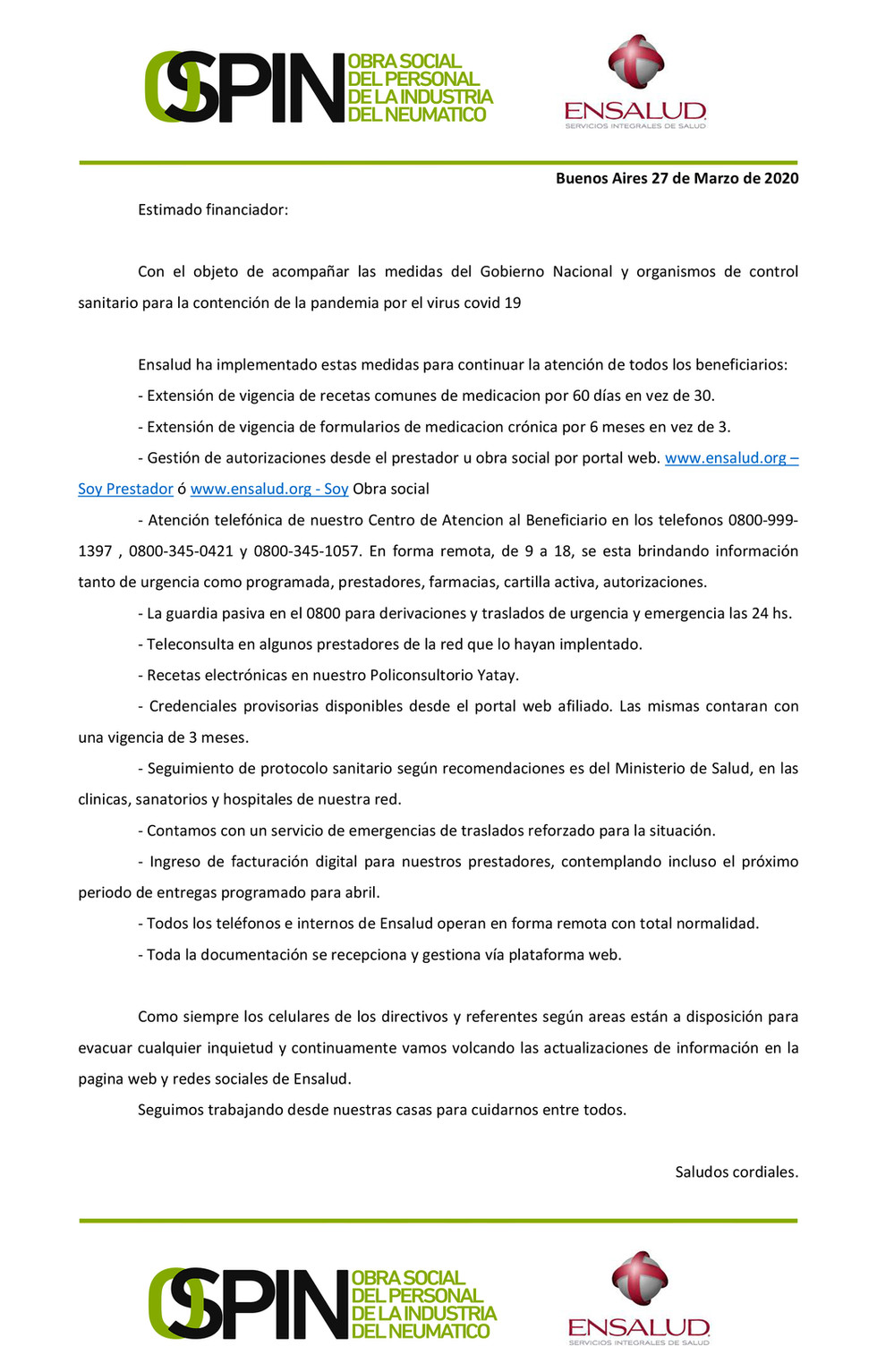 INFORMACIÓN ANTE LA PANDEMIA COVID 19