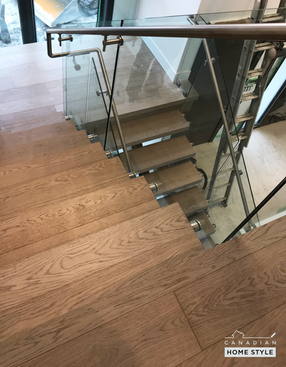 Custom Floating Stairs done with Engineered Hardwood