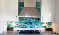 Beautiful Blue Glass Backsplash Work