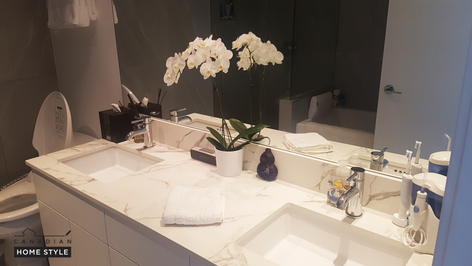 White Vanity with Dekton Counter Top