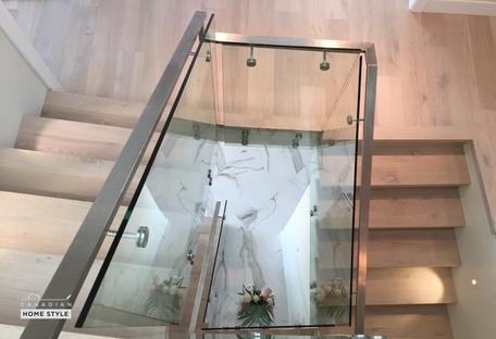 Custom Stairs with White Oak White Washed Oak - Brushed Oak